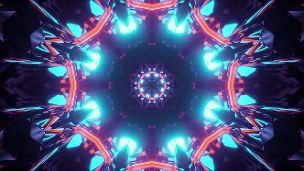 赤と青のネオンライトで照らされた花の形をした万華鏡のような無限のトンネルの抽象的な幾何学的な背景の3dイラスト