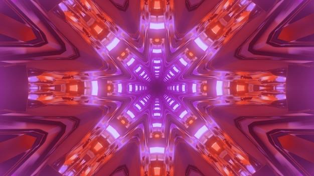 サイエンスフィクショントンネルの抽象的な幾何学的背景の3dイラスト