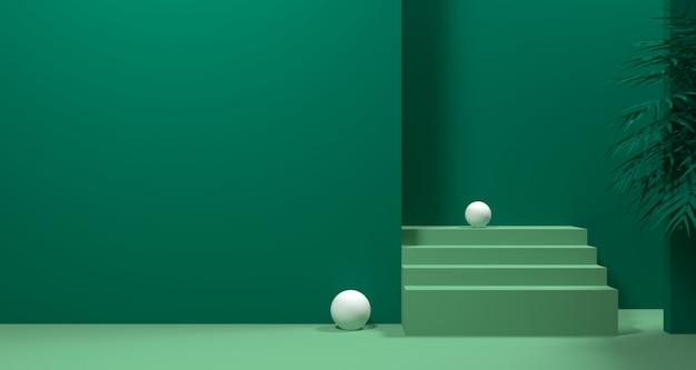 추상 녹색 기하학적 모양, 현대 미니멀 연단 디스플레이 또는 쇼케이스의 3d 일러스트