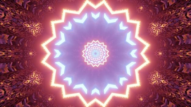 輝く赤と青のイルミネーションと花の形をした明るいエンドレストンネルの抽象の3dイラスト