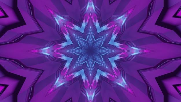 青と紫のライトで光る幾何学的なトンネルの要約の3dイラスト