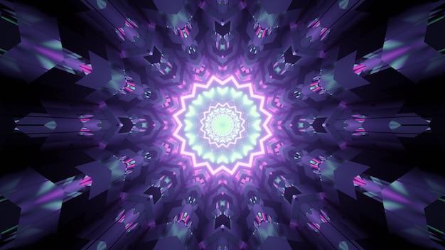 紫と青のネオンライトの反射と花の形をした装飾用廊下の抽象の3dイラスト