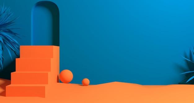 추상 오렌지 & 블루 컬러 기하학적 모양, 현대 미니멀 연단 디스플레이 또는 쇼케이스의 3d 일러스트
