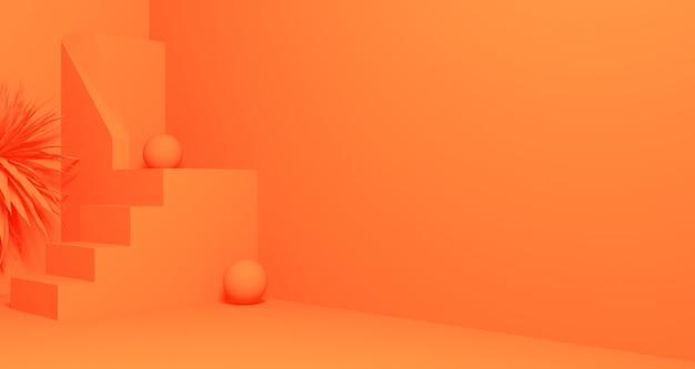 추상 오렌지 컬러 기하학적 모양, 현대 미니멀 연단 디스플레이 또는 쇼케이스의 3d 일러스트