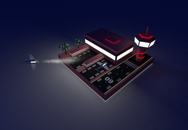 밤에 공항의 3d 일러스트 공항 개념 복사 공간