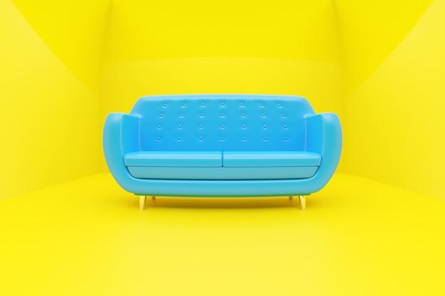 黄色の背景にレトロな60年代スタイルの青いソファの3dイラスト