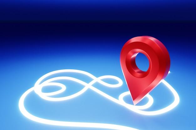 地図上の赤い目的地のアイコンの3dイラスト。ナビゲーションマーカー