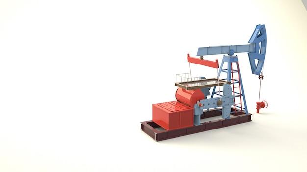 석유 생산 공장, 시추 펌프의 3d 그림.