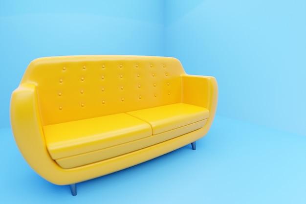 青い背景にレトロな60年代スタイルの黄色いソファの3dイラスト