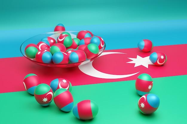 3d иллюстрации шаров с изображением государственного флага азербайджана