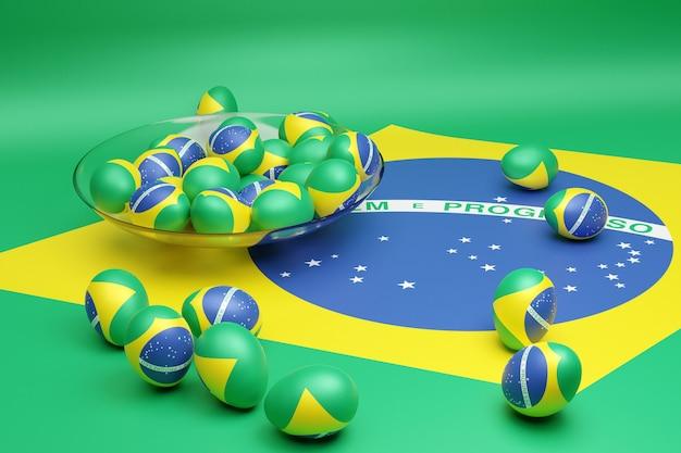 3d иллюстрации шаров с изображением национального флага бразилии
