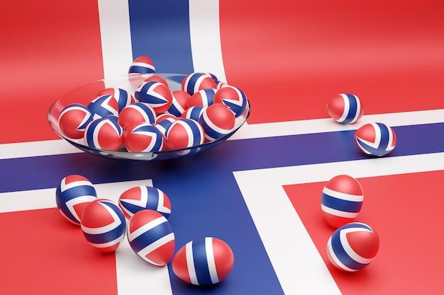 3d иллюстрации шаров с изображением национального флага норвегии