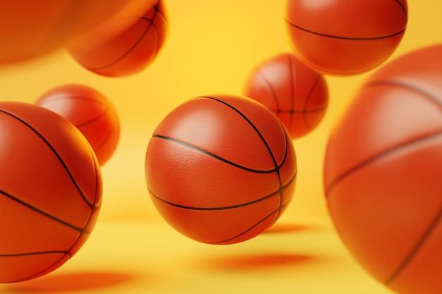バスケットボールボールの3dイラストオレンジ色のバスケットボールボールがたくさん飛んでいます