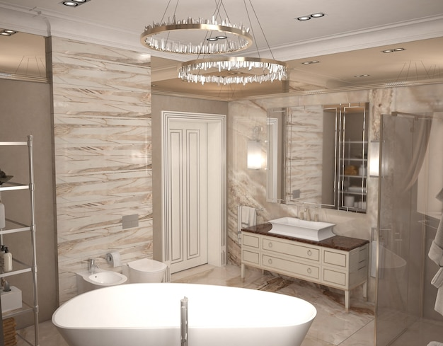 バスルームインテリアの3dイラスト