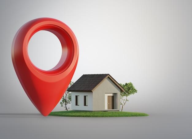 小さな建物の近くに大きな赤い地図ポインターシンボルの3dイラスト