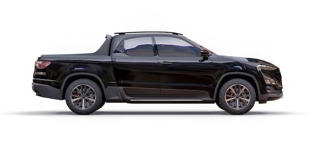 격리 된 흰색 배경에 검은 개념 화물 픽업 트럭의 3d 그림. 3d 렌더링.
