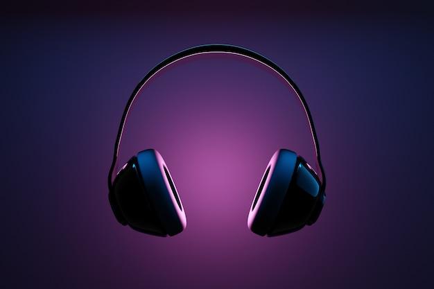 ネオンライトの黒の孤立した背景に黒のレトロなヘッドフォンの3dイラスト。