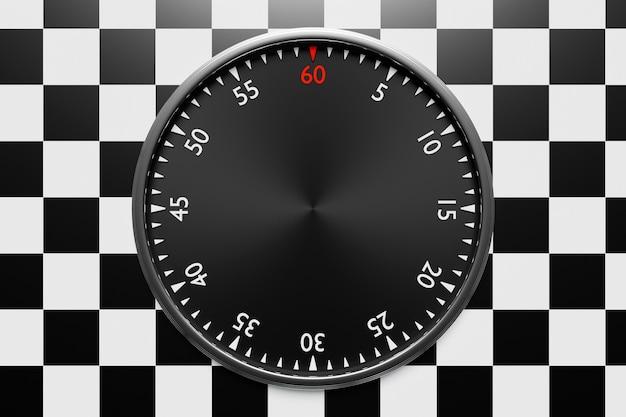 검은색 원형 시계의 3d 그림, 흑백 체크 무늬 배경의 스톱워치. 초시계 아이콘, 로고입니다. 크로노미터, 빈티지 타이머