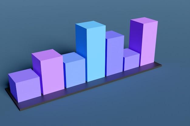 작업 그래프, 프리젠 테이션에 대한 인포 그래픽에 대한 파란색과 보라색 막대 그래프의 3d 일러스트