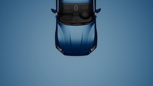 파란색 표면에 파란 차의 3d 그림