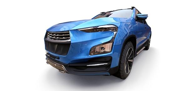 白い孤立した背景に青いコンセプトの貨物ピックアップトラックの3dイラスト。 3dレンダリング。
