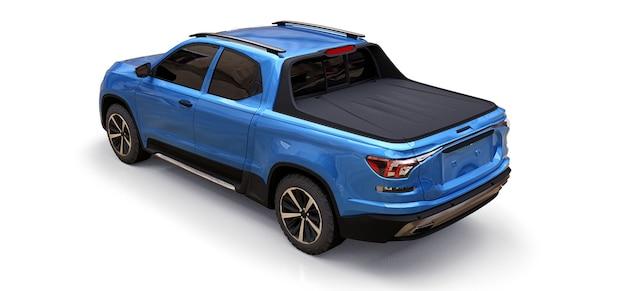 격리 된 흰색 배경에 파란색 개념 화물 픽업 트럭의 3d 그림. 3d 렌더링.