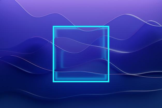 밝은 파란색 네온 광장의 3d 일러스트