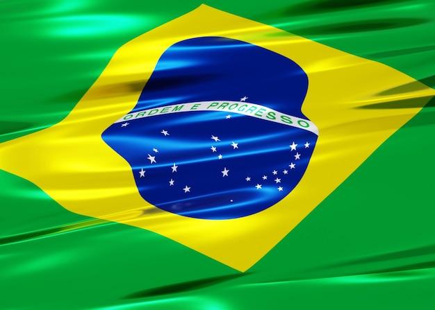 3d иллюстрации яркого флага бразилии с размахивая