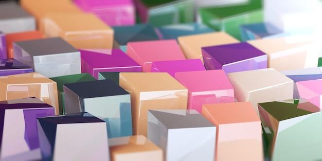 흐림 효과가 있는 밝은 색상의 불규칙한 큐브의 3d 그림