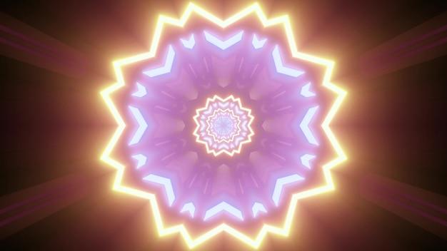 暗い上に金色と紫のネオン色で明るく輝く幾何学的な花柄の3dイラスト