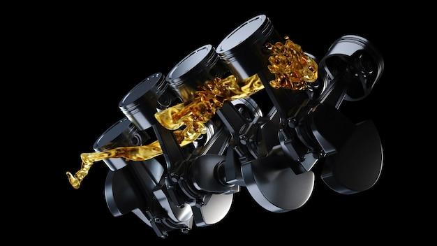 Иллюстрация 3d двигателя автомобиля с смазочным маслом на ремонте