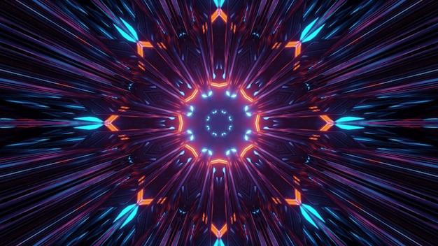 抽象的な背景としてネオンの光とカラフルなフラクタル花の形のパターンの3dイラスト