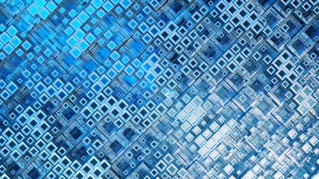 4kでプログラムを介して浮かぶ立方体のカラフルなガラスの列の3dイラスト、抽象的なグラフィック背景技術テクスチャを作成します。