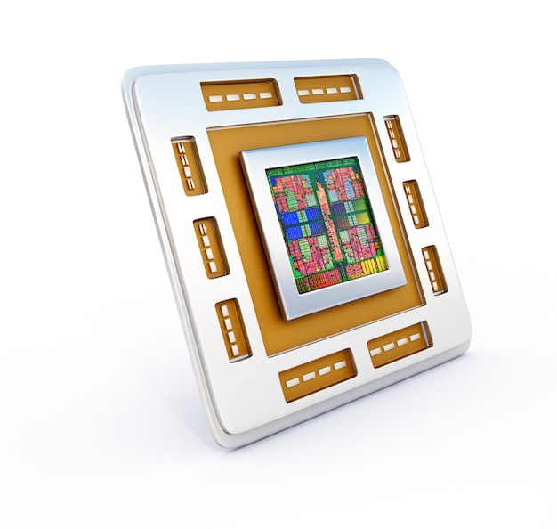 Иллюстрация 3d обломока cpu компьютера (блока центрального процессора)