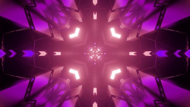 幾何学的な図形に反射し、フラクタルパターンを形成する紫色のネオンライトと暗い迷路の3dイラスト