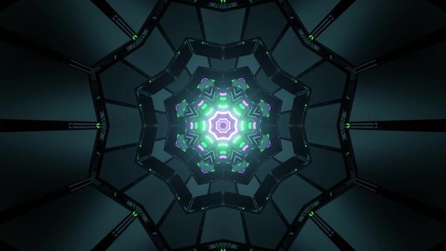 対称セルとカラフルな輝く雪の結晶の形をしたパターンを持つ暗い迷路の3dイラスト