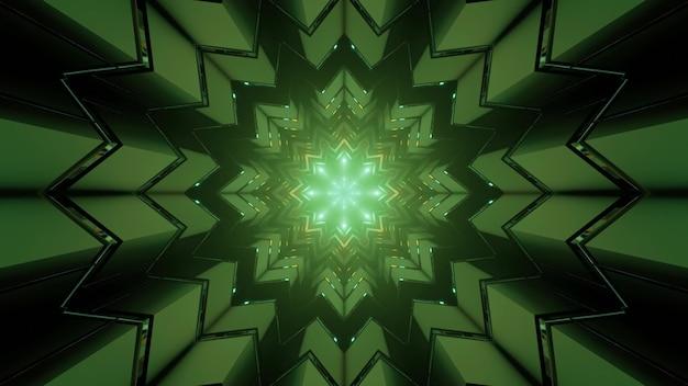 抽象的な背景として対称光線と万華鏡の雪の結晶形の幾何学模様と暗いトンネルの3dイラスト