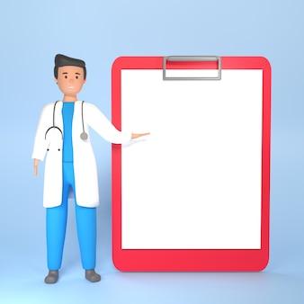 Иллюстрация 3d доктора. врач 3d иллюстрации. иллюстрация доктора рендеринга 3d указывая на бумагу рецепта. 3d медицинская концепция с врачом и копией пространства для бумаги
