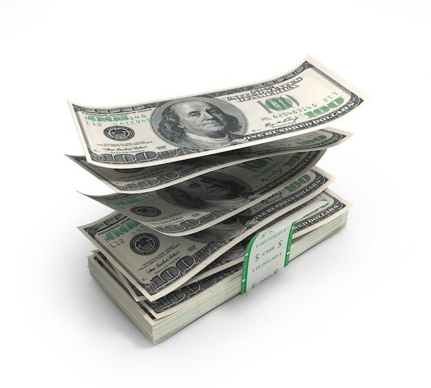 3d иллюстрации долларовых купюр, вылетающих из стека с разорванным лектом, изолированы на белом фоне