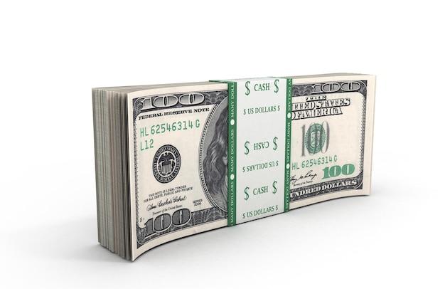 3d иллюстрации долларов в пачке крупным планом, стоя на полу на белом фоне