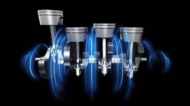 3d иллюстрации крюков двигателя с энергетическими дорожками