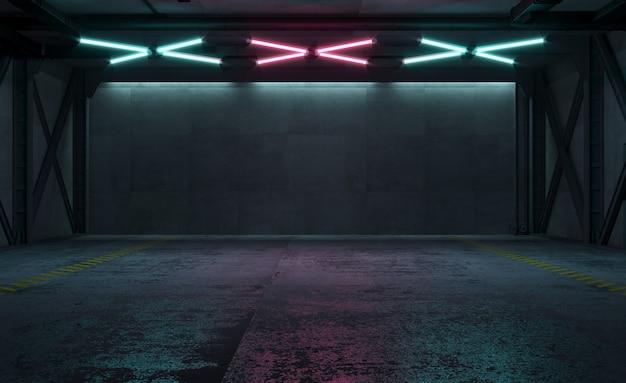 네온 불빛과 함께 밤에 공장 방의 3d 일러스트