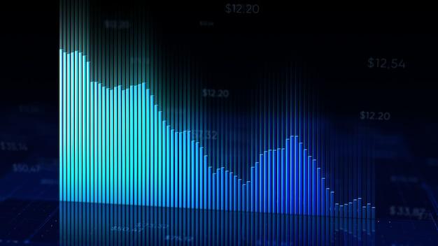 금융 차트의 3d 일러스트는 시장에 하락을 보여줍니다