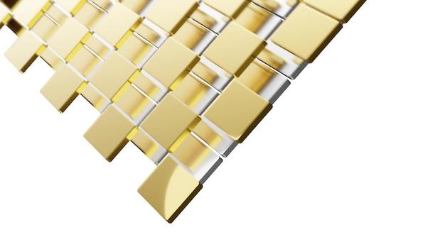 白の複雑な層に重ねられた金と銀の平らな正方形と湾曲した角の3dイラスト