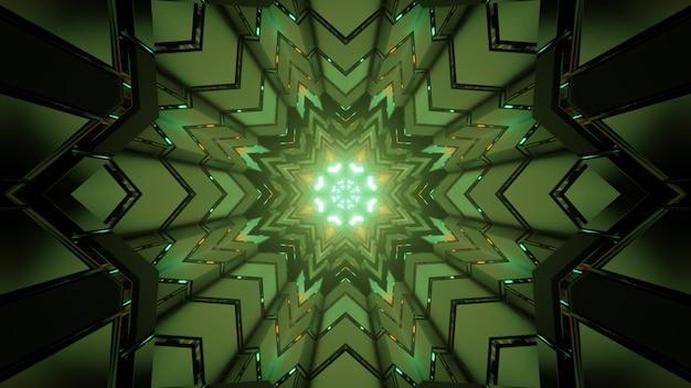 対称形と緑色のネオンライトで抽象的な幾何学模様を形成するフラクタル六角形の3dイラスト