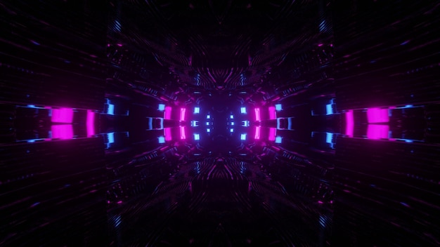 暗闇の中で明るい紫と青のライトと未来的な抽象の3dイラスト