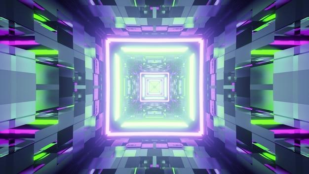 壁に反射する明るい緑と紫のネオンライトと未来的なサイバースペースの3dイラスト