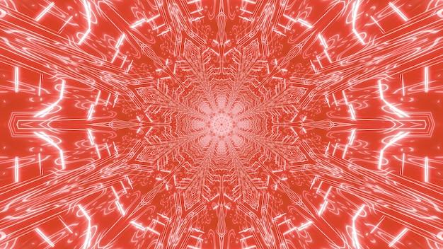 빛으로 빛나는 밝은 빨간색 복도의 기하학적 추상 배경의 3d 그림