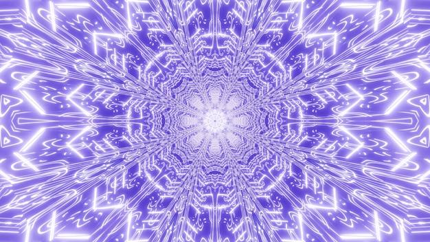 빛나는 빛과 보라색 색상의 기하학적 둥근 모양의 복도의 3d 일러스트
