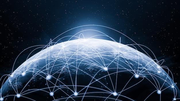 グローバルモダンな創造的なコミュニケーションとインターネットネットワークマップの3 dイラストレーション